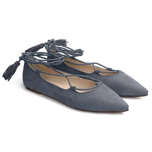 Grey Suede Lace-up Flats