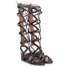 Black Leather Look Knee-high Block Heel Tie Wrap Fastening Gladiator