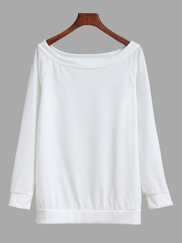 White Off Shoulder Long Sleeves Causal T-shirt