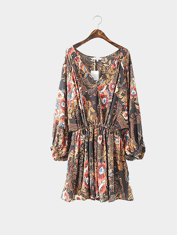 Floral Printing Lantern Sleeves Mini Dress