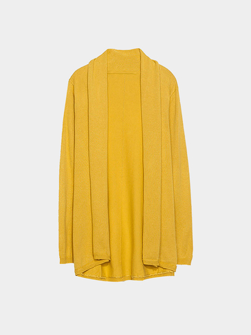 Yellow Oversized Cardigan in Fine Knit