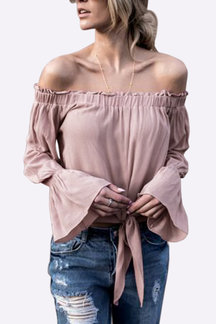 Pink Sexy Off The Shoulder Flared Sleeves Blouse with Self-tie Design