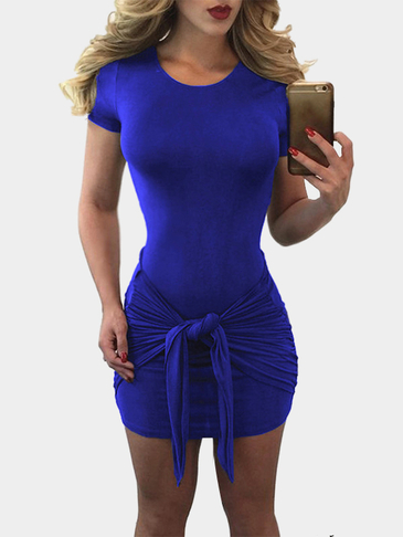 Cobal Blue Short Sleeves Wrap Bodycon Dress with Self-tie