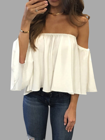 White Sexy Off Shoulder Loose Fit Bluse