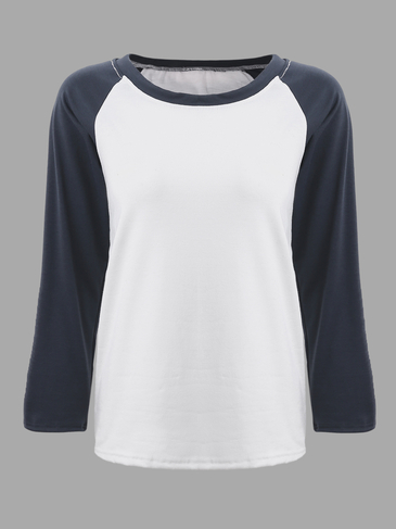 Contrast Color Round Neck Causal T-shirt