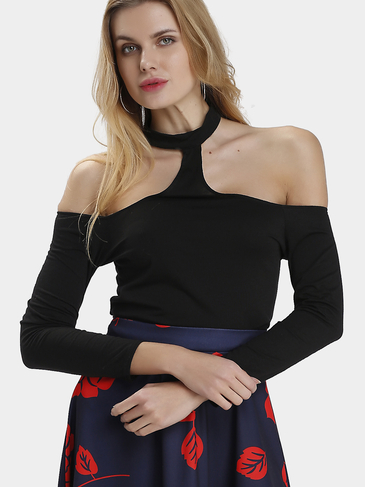 Black Choker Off Shoulder Long Sleeve Crop Top