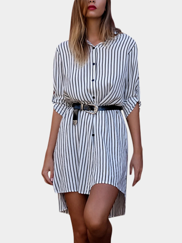 Fashion Stripe Pattern Irregular Hem Shirt Dress