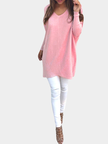 Dark Pink Casual Long Sleeves V-neck Sweater