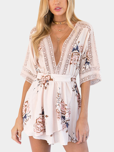 Deep V-neck Random Floral Print Playsuit in Beige
