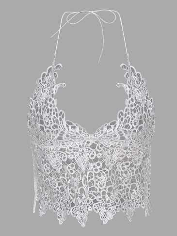White Sexy V-neck Strap Bralet with Lace Details