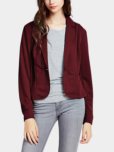Burgundy Fashion One Button Closure Front Blazer