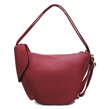 Red Zipper Front Pocket Shoulder Bag
