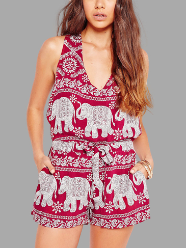 Red Elephant Pattern V-neck Sleeveless Playsuit