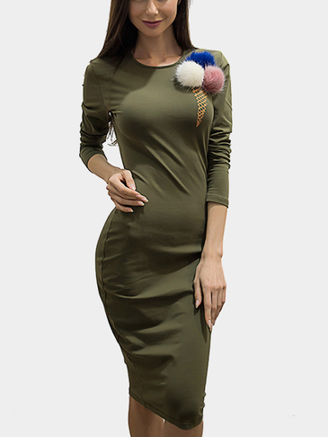 Green Round Neck Long Sleeves Bodycon Dress with Fur Ball