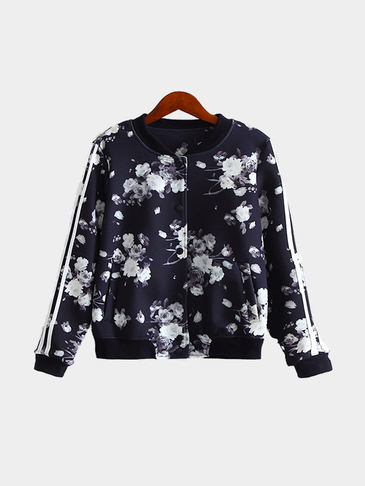 Random Floral Print Long Sleeves Bomber Jacket with Side Pockets