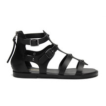 Black Leather Look Gladiator Flat Sandals