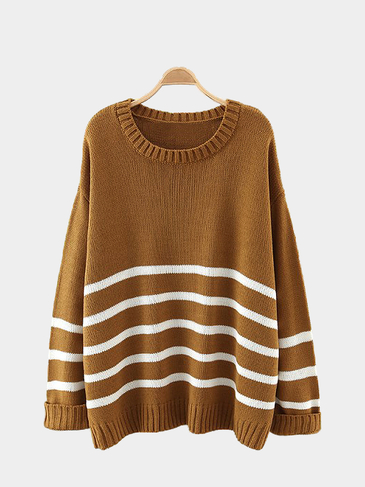 Stripe Loose Sweater in Khaki
