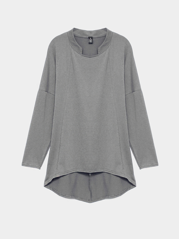 Plus Size Long Sleeve Top mit gebogenem Saum in Dunkelgrau