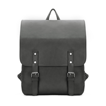 Dark Grey Leather-look Flap Front Backpack with Zip Buckle