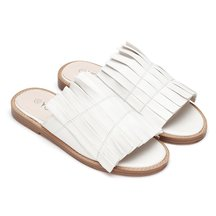 White Leather Look Pleated Flat Slippers