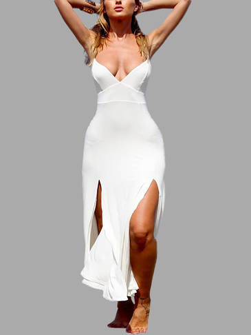 White Sexy V-neck Splited Design Backless Dress