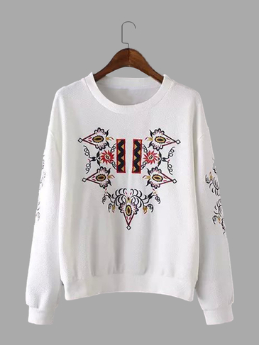 White Casual Embroidery Floral Pattern Sweatshirt
