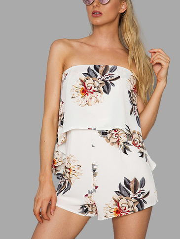 White Floral Print Layered Strapless Tube Playsuit