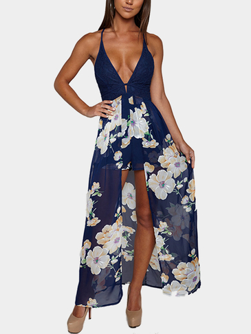 V Neck Floral Print Maxi Playsuit with Lace Detail