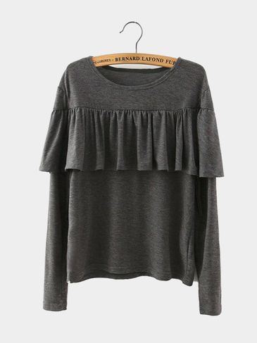 Ruffled Long Sleeve Top in Grey