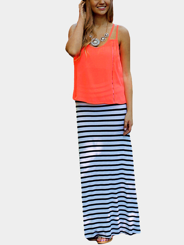 Orange Round Neck Strappy Back Cami Top