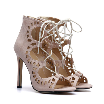 Suede Cutouts Lace-up High Heels