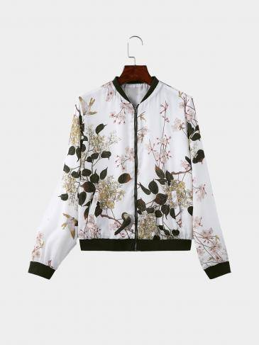 Fashion Random Floral Pattern Pockets Design Bomber Jacket