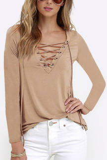 Khaki Casual V-neck Lace-up Design Long sleeves T-shirts