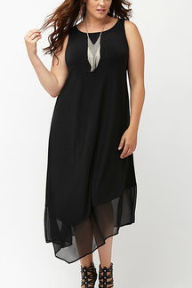 Plus Size Sleeveless Dress with Irregular Mesh Hem