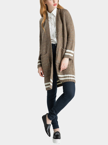 Khaki Striped Knitted Cardigan with Open Front