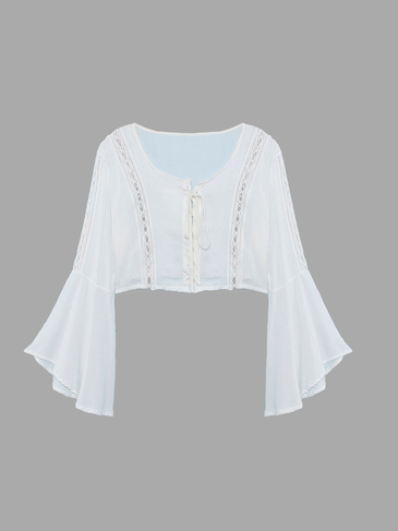 White Lace-up Crop Top with Bell Sleeves
