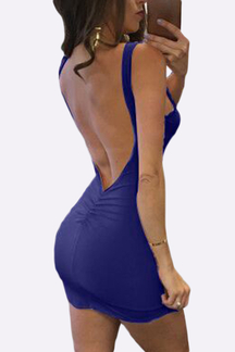 Dark Blue Round Neck Sleeveless Backless Mini Dress