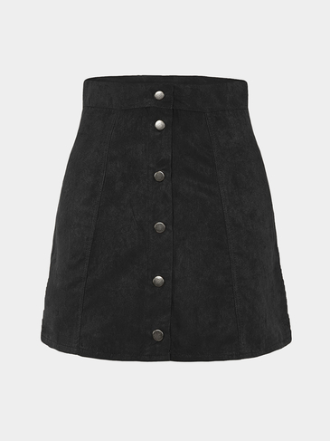 Black Suede High-rise Button A-line Skirt