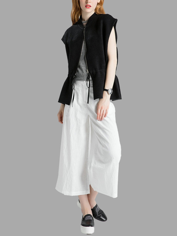 Black Gilet Jacket with Draw String Waist