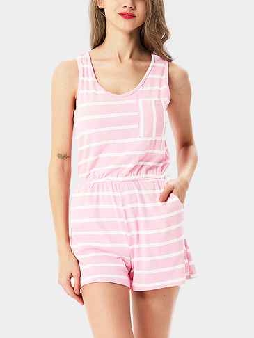 Pink Casual Stripes Sleeveless Playsuit with Stretch Waistband