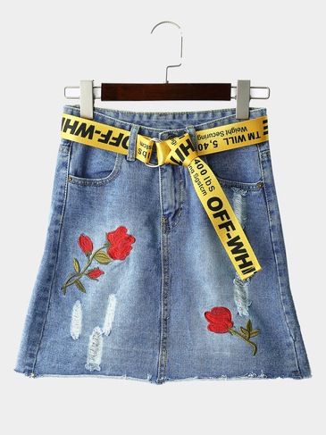 Light Blue Fashion Random Flower Embroidered High Waist Denim Skirts