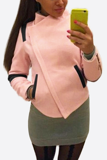 Pink Asymmetrical Zippered Front Short Outerwear