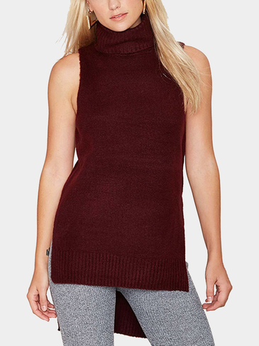 Sleeveless Tunic In Knit With Side Split and High Neck