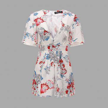 Floral Print V Neck Playsuit With Self-tie