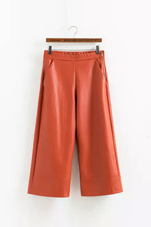 Wide Leg Leather Pants In Orange