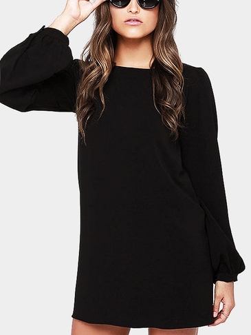 Fashion Plain Black Color Mini Dress with Button Closure