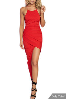 Red Round cuello Backless vestido de Midi