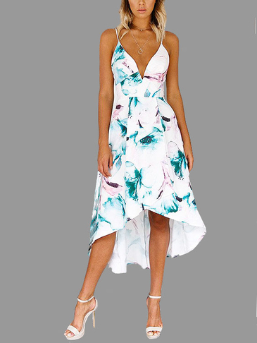 Sweet Low V-neck Maxi Slip Dress com Random Floral Print