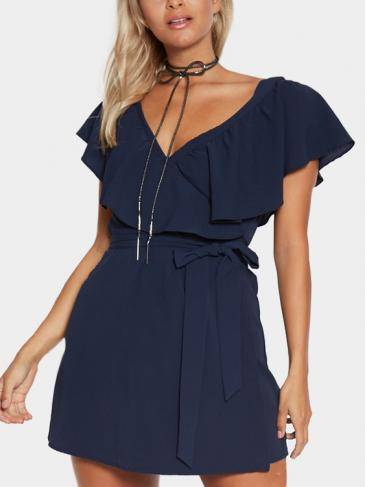 Navy V-Neck Flounced Design Self-Tie Cintura Mini Dress