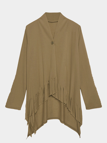 High Low Hem Tassel Cardigan in Brown